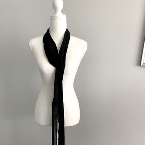 Black natural silk scarf by DVF, new with tags